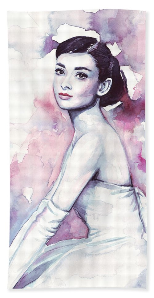 Fashion Watercolor Beach Towel featuring the painting Audrey Hepburn Portrait by Olga Shvartsur