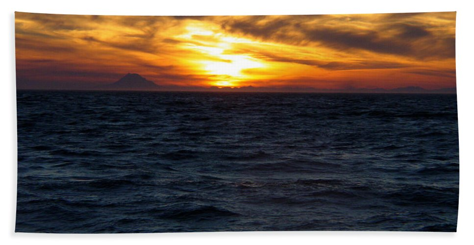 Alaska Beach Towel featuring the photograph Augustine Sleeps by Jeremy Rhoades