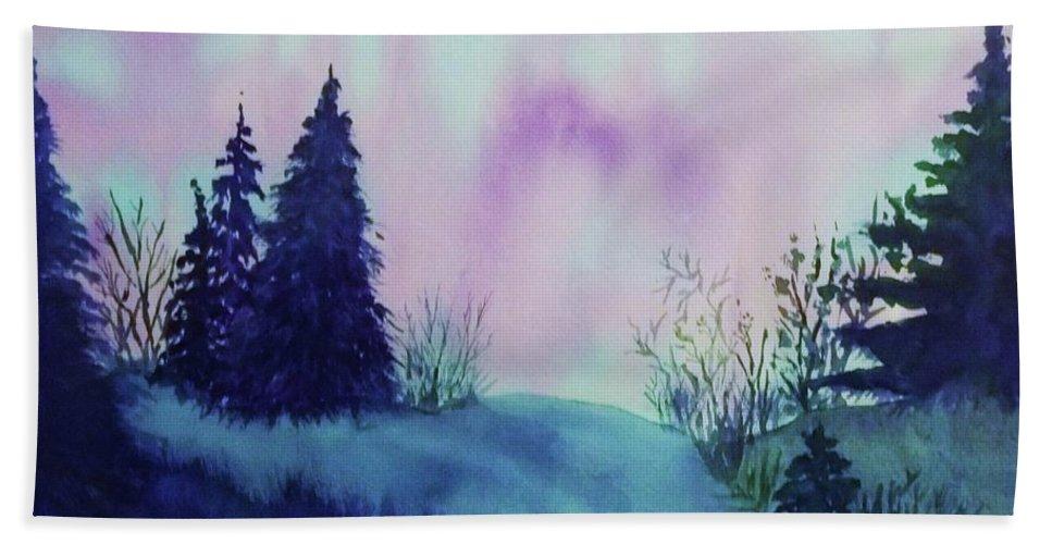 Aurora Beach Towel featuring the painting Aurora Borealis I by Ellen Levinson
