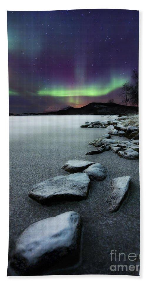 Aurora Borealis Beach Towel featuring the photograph Aurora Borealis Over Sandvannet Lake by Arild Heitmann