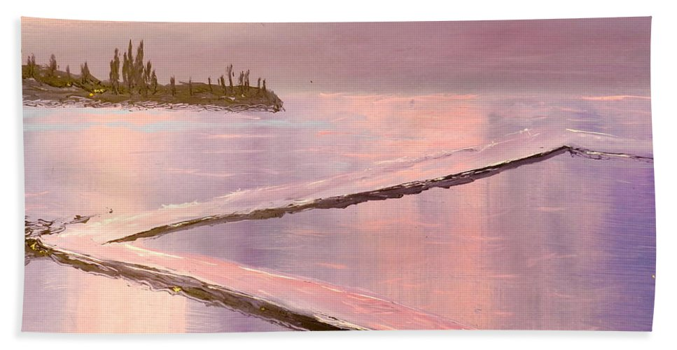 Impressionism Beach Towel featuring the painting Austinmer Pool At Sunset by Pamela Meredith