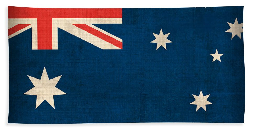 Australia Flag Vintage Distressed Finish Outback Australian Sydney Brisbane Pacific Continent Country Nation Australian Beach Towel featuring the mixed media Australia Flag Vintage Distressed Finish by Design Turnpike