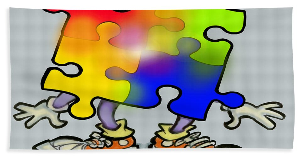 Autism Beach Towel featuring the digital art Autism Puzzle by Kevin Middleton