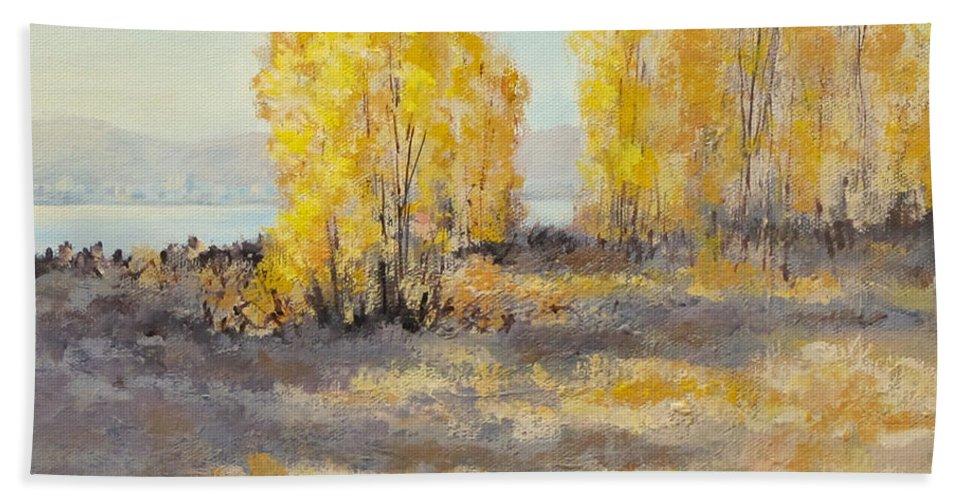 Acrylic Beach Towel featuring the painting Autumn Abandon by Karen Ilari