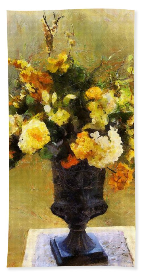 Flowers Beach Towel featuring the painting Autumn Antiqua by RC DeWinter