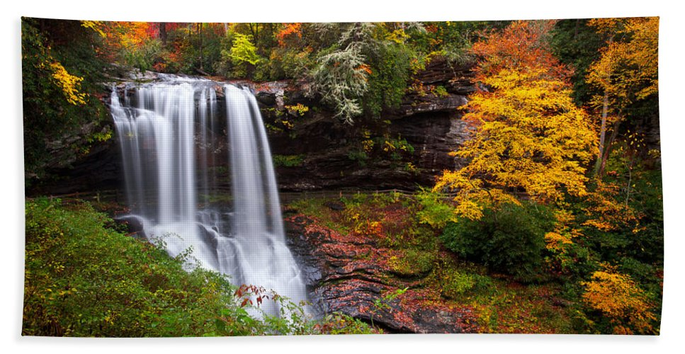 Waterfalls Beach Towel featuring the photograph Autumn At Dry Falls - Highlands Nc Waterfalls by Dave Allen