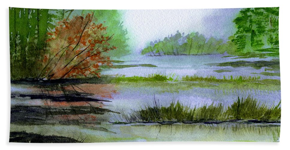 Landscape Beach Towel featuring the painting Autumn By The Lake by Brenda Owen