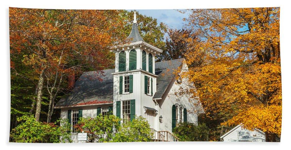 Church Beach Towel featuring the photograph Autumn Church by Bill Wakeley