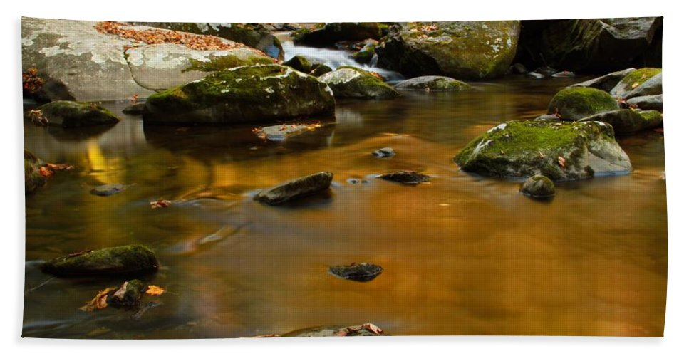 Autumn Colors On Little River Beach Towel featuring the photograph Autumn Colors On Little River by Dan Sproul