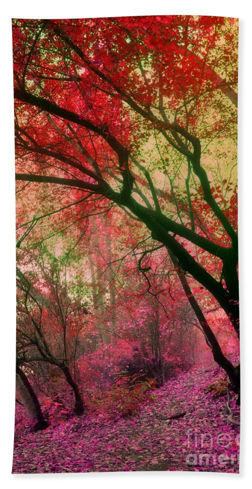 Red Beach Towel featuring the photograph Autumn Dreams by Tara Turner
