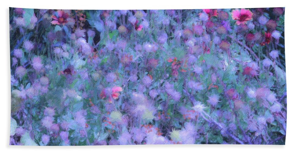 Blue Beach Towel featuring the photograph Autumn Flowers In Blue by Angela Stanton