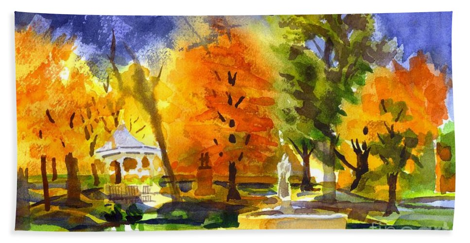 Autumn Gold 2 Beach Towel featuring the painting Autumn Gold 2 by Kip DeVore