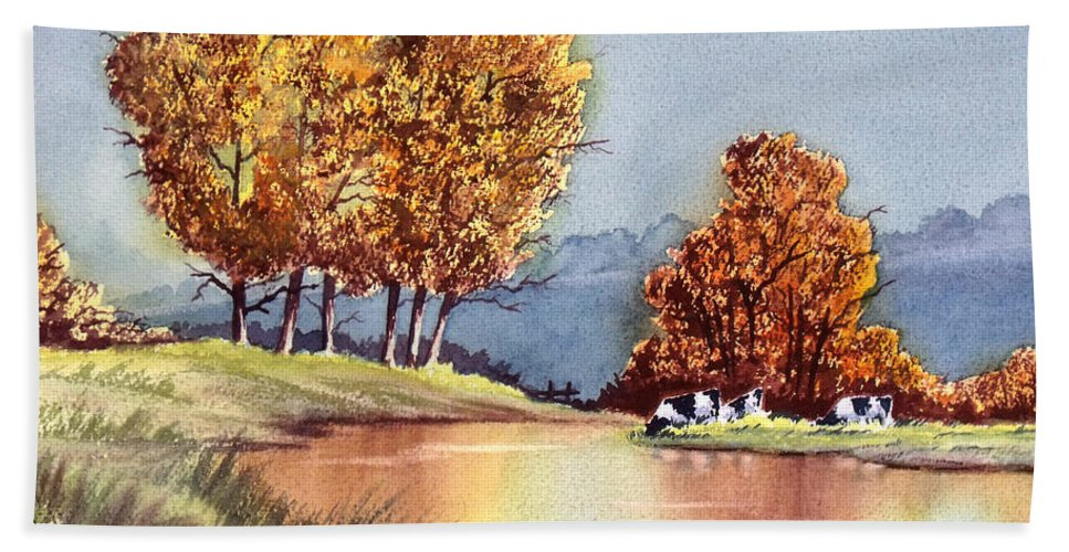 Bill Holkham Beach Towel featuring the painting Autumn Golds by Bill Holkham