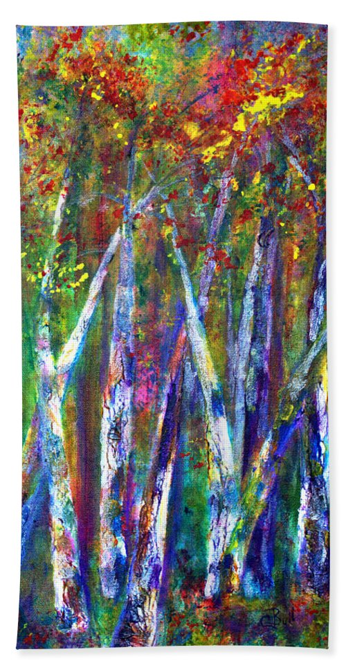 Claire Bull Beach Towel featuring the painting Autumn In Muskoka by Claire Bull