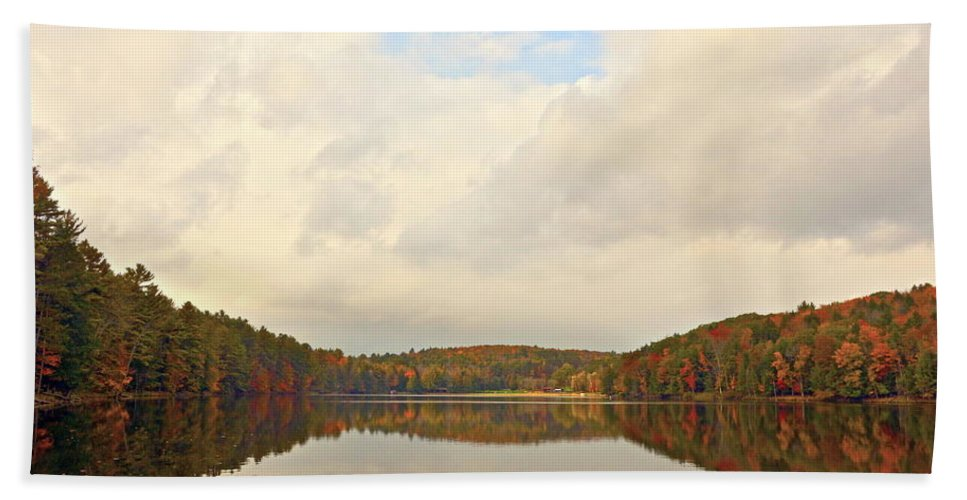Autumn Fall Landscape New York Rural With Lake Beach Towel featuring the photograph Autumn In The Butternut Valley-four by Byron Varvarigos
