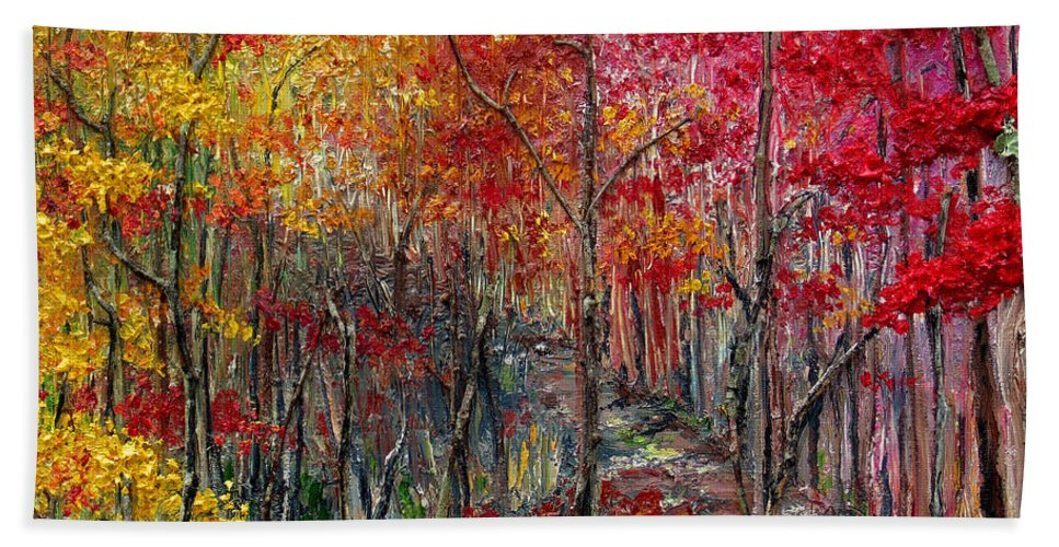 Autumn Beach Towel featuring the painting Autumn In The Woods by Karin Dawn Kelshall- Best