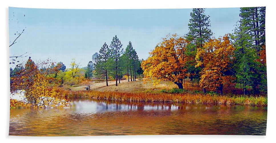Autumn Beach Towel featuring the photograph Autumn Lake In The Woods by Joyce Dickens