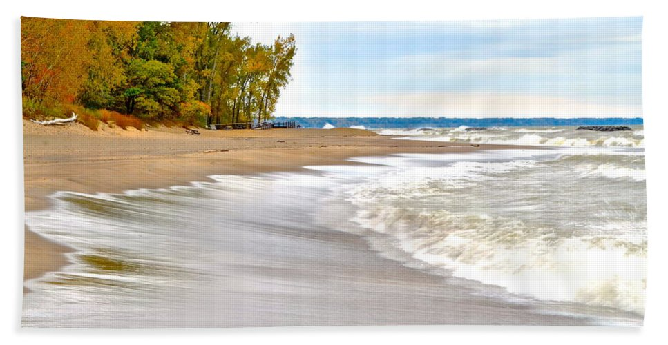 Autumn Beach Towel featuring the photograph Autumn On The Beach by Frozen in Time Fine Art Photography