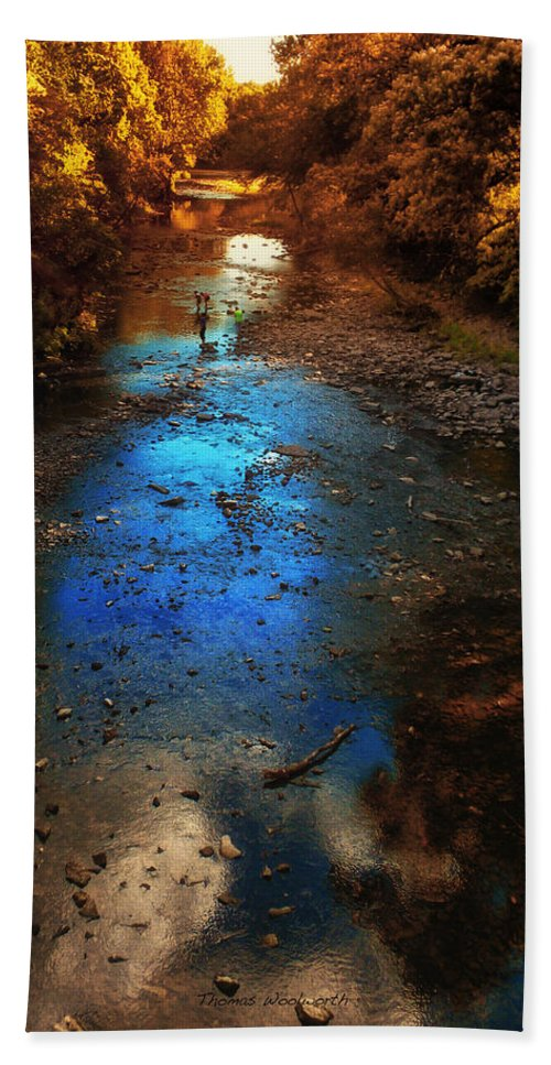 Kankakee Il Beach Towel featuring the photograph Autumn Reflections On The Tributary by Thomas Woolworth