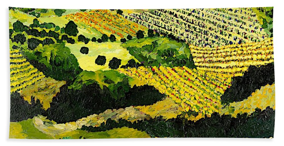Landscape Beach Towel featuring the painting Autumn Remembered by Allan P Friedlander