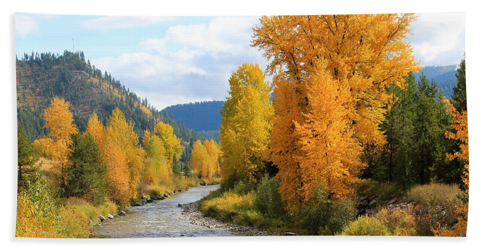 Trees Beach Towel featuring the photograph Autumn River In Montana by Athena Mckinzie