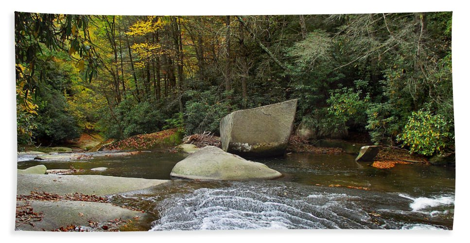 Waterfalls Beach Towel featuring the photograph Autumn River Fall by Duane McCullough