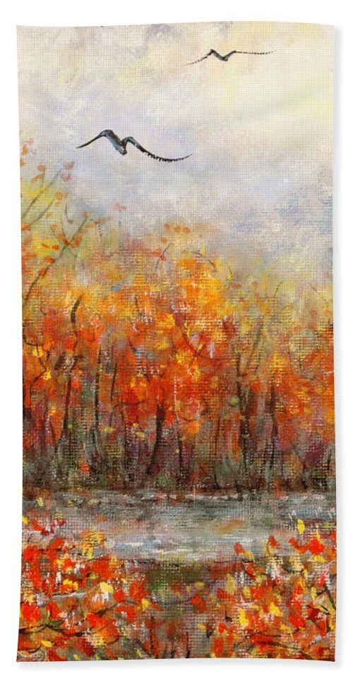 Landscapes Beach Towel featuring the painting Autumn Song by Natalie Holland