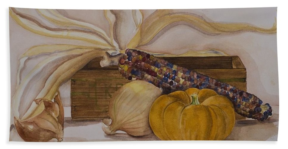 Fine Art Still Life Beach Towel featuring the painting Autumn Still Life by Rebecca Matthews