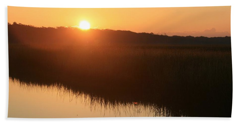 Sunrise Beach Towel featuring the photograph Autumn Sunrise Over The Marsh by Nadine Rippelmeyer