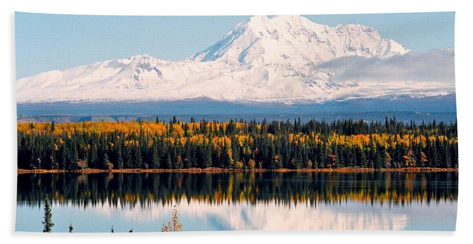 Alaska Beach Towel featuring the photograph Autumn View Of Mt. Drum - Alaska by Juergen Weiss