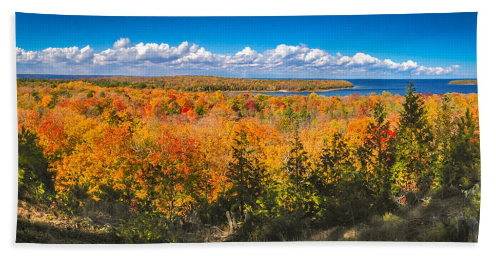 Door County Beach Towel featuring the photograph Autumn Vistas of Nicolet Bay by Ever-Curious Photography