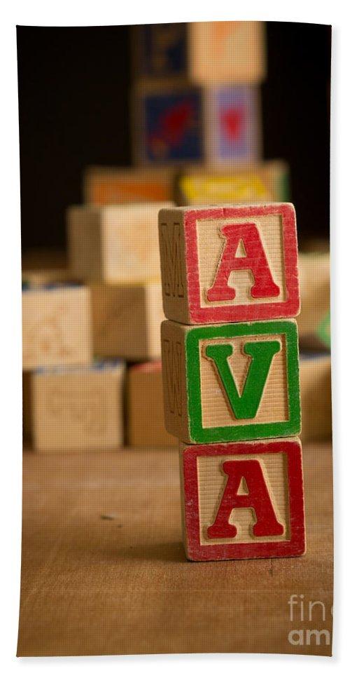 Alphabet Beach Towel featuring the photograph Ava - Alphabet Blocks by Edward Fielding