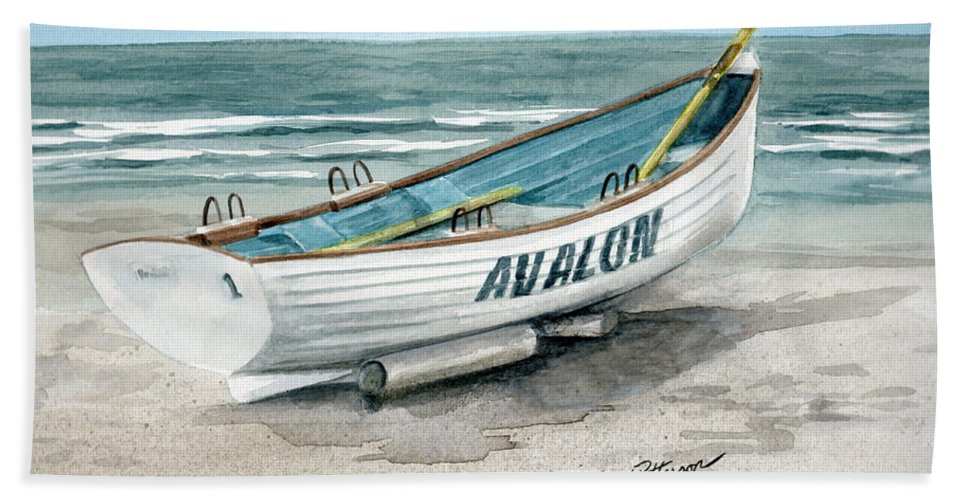ff0a82150018 Lifeguard Boat Beach Towel featuring the painting Avalon Lifeguard Boat by Nancy  Patterson