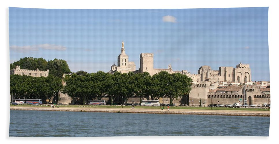 City Beach Towel featuring the photograph Avigon View From River Rhone by Christiane Schulze Art And Photography