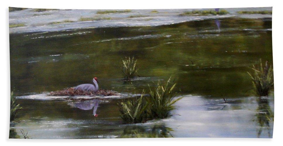 Sandhill Crane Beach Towel featuring the painting Awaiting Parenthood by Rebecca Hendrix