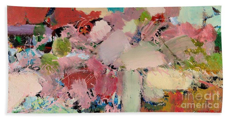 Landscape Beach Sheet featuring the painting Azaleas by Allan P Friedlander