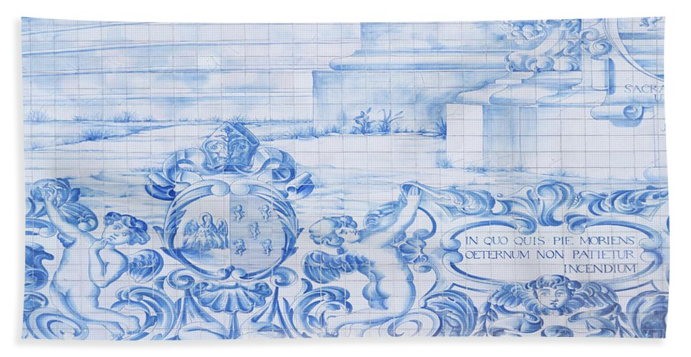 Architecture Beach Towel featuring the photograph Azulejos Traditional Tiles In Porto Portugal by Jacek Malipan