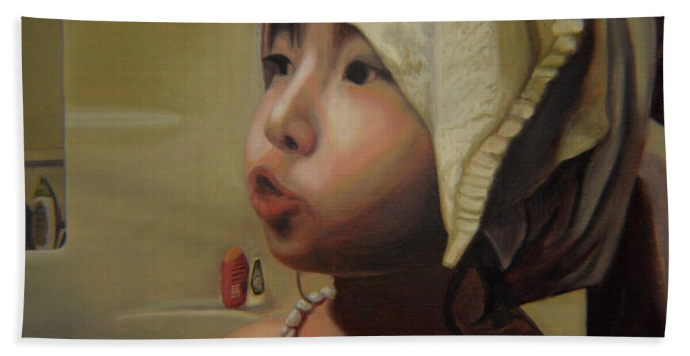 Figure Beach Towel featuring the painting Baby Bath Mama by Thu Nguyen