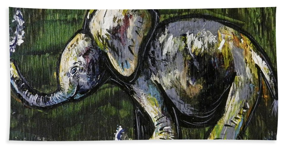Green Beach Towel featuring the painting Baby Elephant by Lovejoy Creations