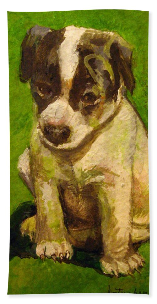 Baby Jack Russel Beach Towel featuring the painting Baby Jack Russel by Donna Tucker
