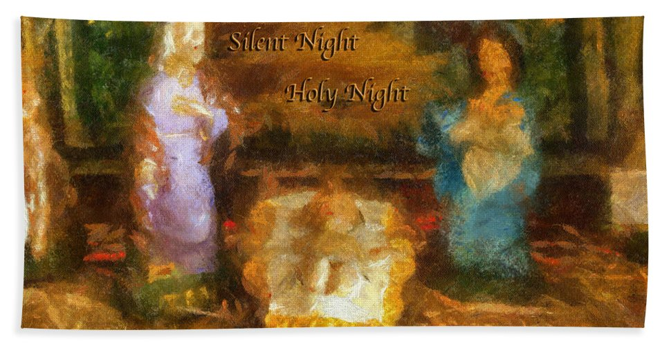 Baby Jesus Beach Towel featuring the photograph Baby Jesus Silent Night Photo Art by Thomas Woolworth