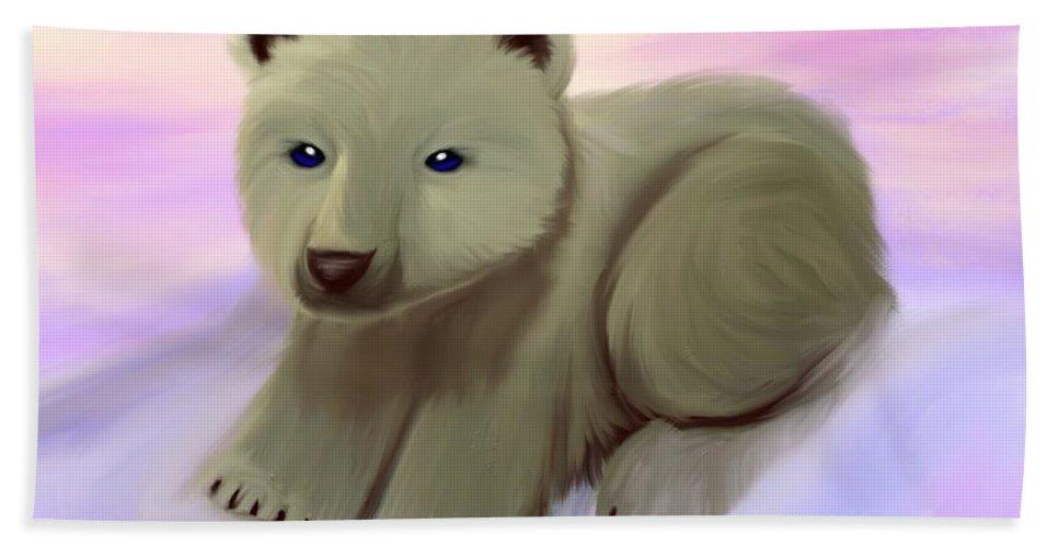 Polar Bear Beach Towel featuring the painting Baby Polar Bear by Nick Gustafson