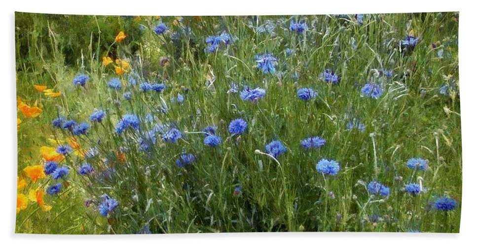 Landscape Beach Towel featuring the painting Bachelor's Meadow by RC DeWinter