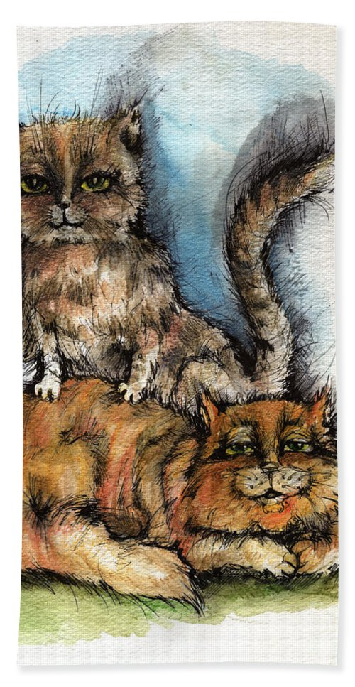 Cat Beach Towel featuring the painting Back Massage by Angel Ciesniarska