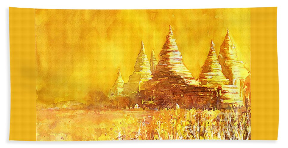 10th Century Beach Towel featuring the painting Bagan Heat by Ryan Fox