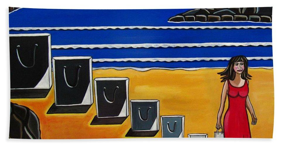 Beach Scenes Beach Towel featuring the painting Baggage by Sandra Marie Adams
