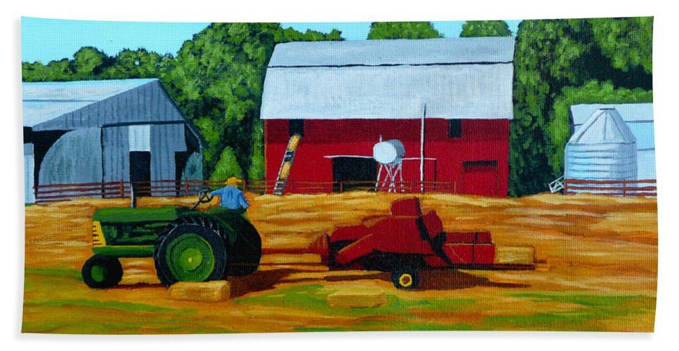 Farm Beach Towel featuring the painting Bailing Hay by Anthony Dunphy