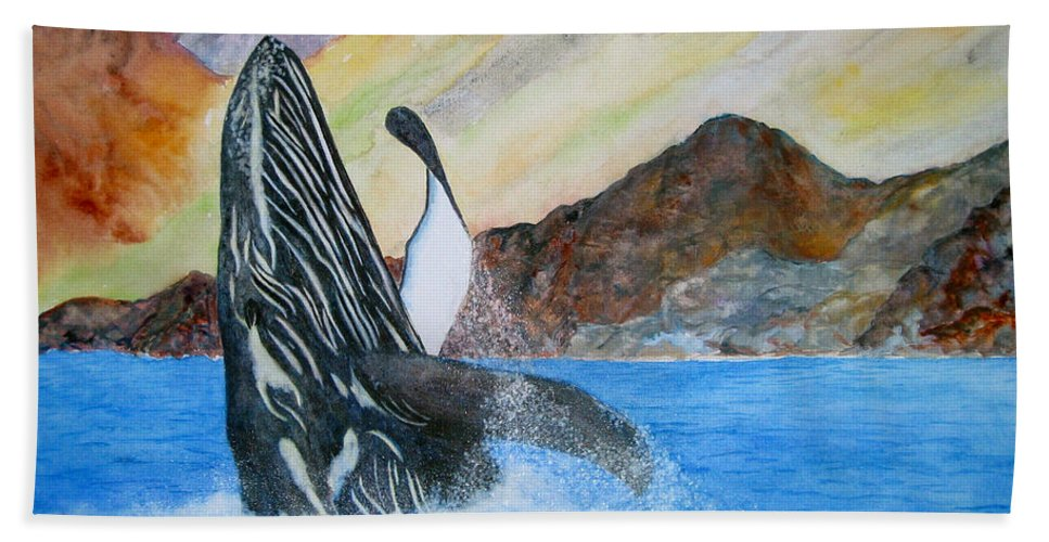 Humpback Whale Beach Towel featuring the painting Baja Breach by Patricia Beebe