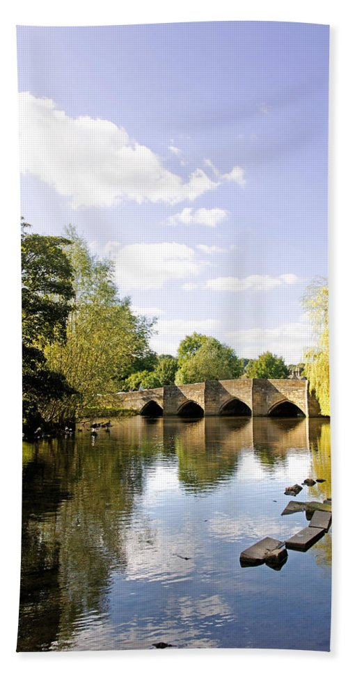 Bakewell Beach Towel featuring the photograph Bakewell Bridge - Over The River Wye by Rod Johnson