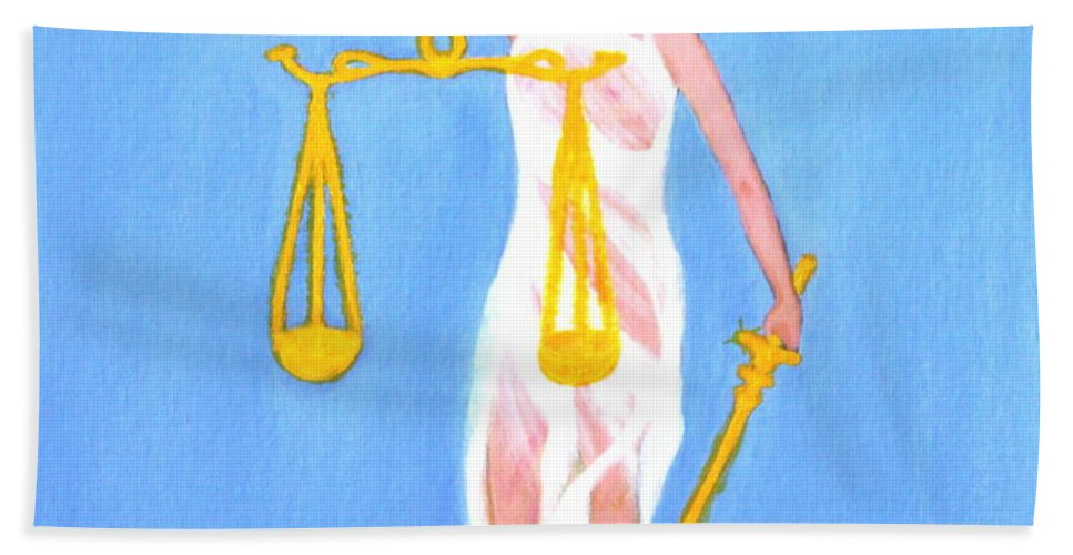 Balance And Money Beach Towel featuring the painting Balance And Money by Lorna Maza